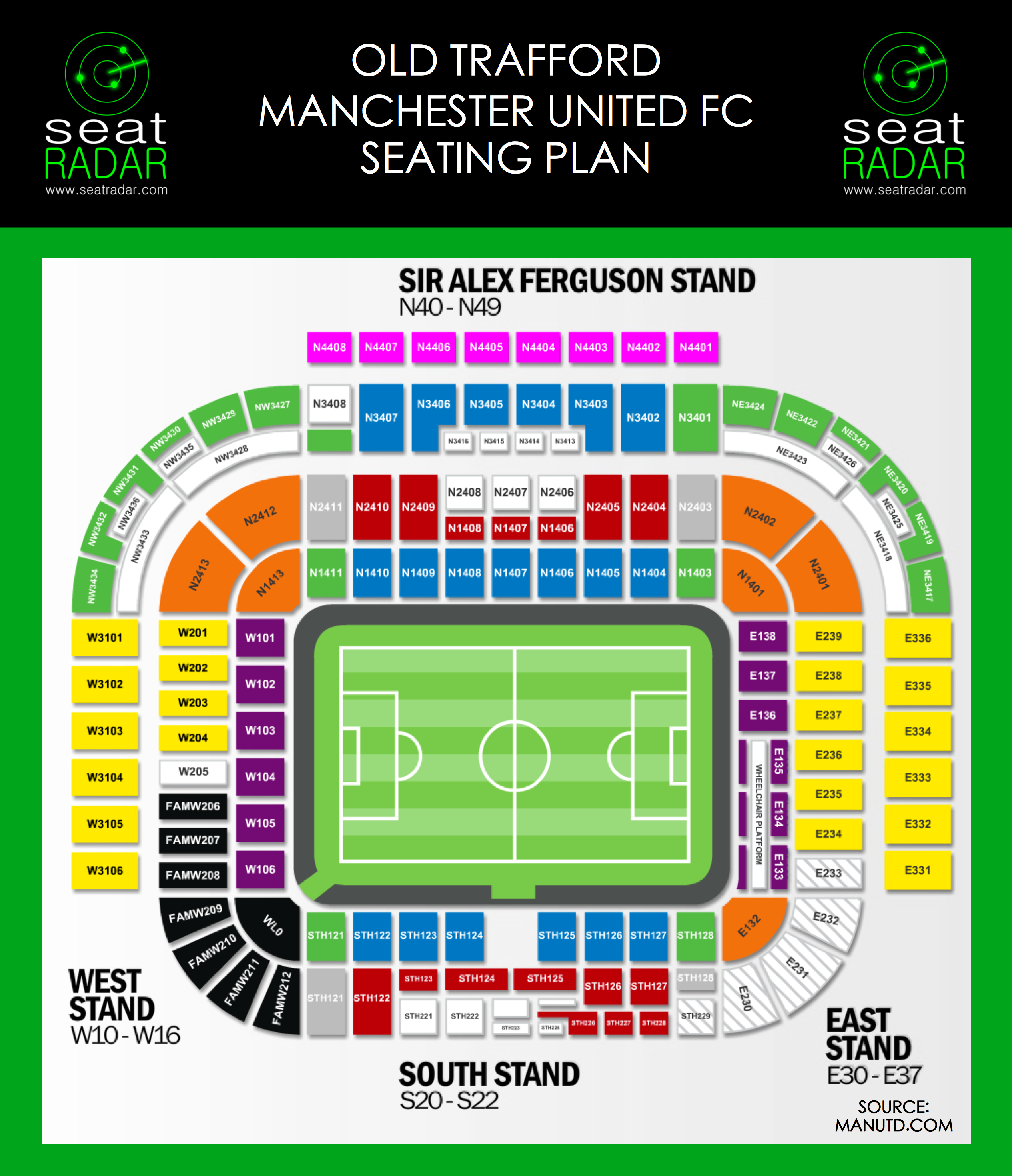 Old Trafford Seating Plan (Temporary